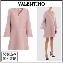 VALENTINO Short Wool Flared V-Neck Long Sleeves Plain Party Style