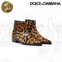 Dolce & Gabbana Leopard Patterns Casual Style Leather Elegant Style