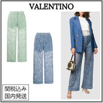 VALENTINO Printed Pants Short Flower Patterns Casual Style Long