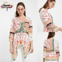 Desigual Flower Patterns Casual Style Cropped Medium Shirts & Blouses