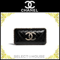 CHANEL Lambskin Leather Party Style Elegant Style Party Bags