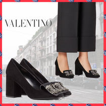 VALENTINO Round Toe Suede Plain Leather Block Heels Party Style