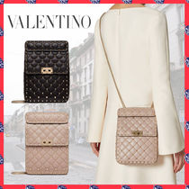 VALENTINO Studded 2WAY Chain Leather Party Style Elegant Style