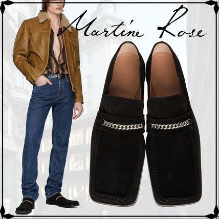Loafers Suede Chain Plain Leather Loafers & Slip-ons