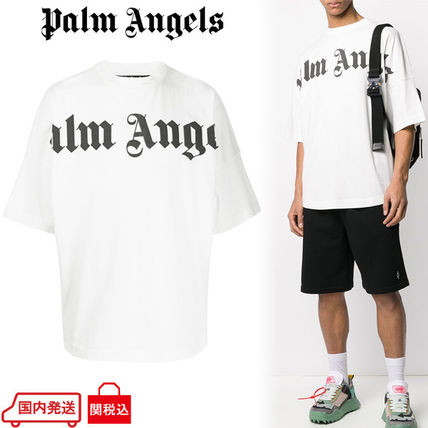 Palm Angels Crew Neck Crew Neck Street Style Plain Cotton Short Sleeves Oversized