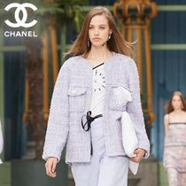 CHANEL Tweed Medium Elegant Style Icy Color Jackets