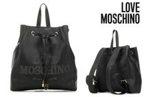 Love Moschino Casual Style Faux Fur Plain Backpacks