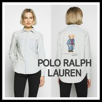 POLO RALPH LAUREN Casual Style Long Sleeves Plain Cotton Long Shirts & Blouses
