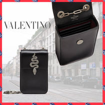 VALENTINO Casual Style Calfskin Plain Leather Party Style