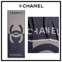 CHANEL ICON Unisex Cashmere Silk Blended Fabrics Street Style Bi-color