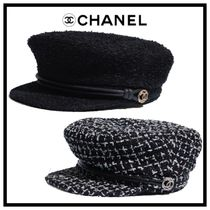 CHANEL ICON Blended Fabrics Street Style Beret