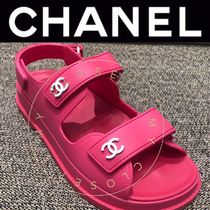 CHANEL ICON Open Toe Platform Casual Style Blended Fabrics Street Style