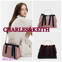 Charles&Keith Suede Faux Fur 2WAY Bi-color Plain Party Style Elegant Style