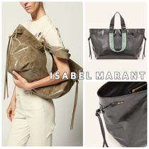 Isabel Marant Casual Style Calfskin A4 Leather Office Style Totes