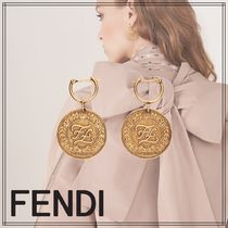 FENDI KARLIGRAPHY Casual Style Coin Party Style Elegant Style Earrings
