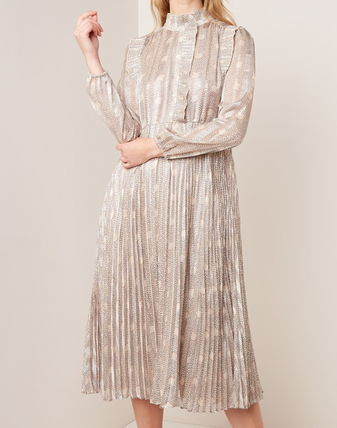 Casual Style Flared Long Sleeves Medium Long Party Style