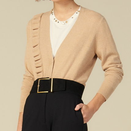 Short Casual Style Wool Cashmere Long Sleeves Party Style