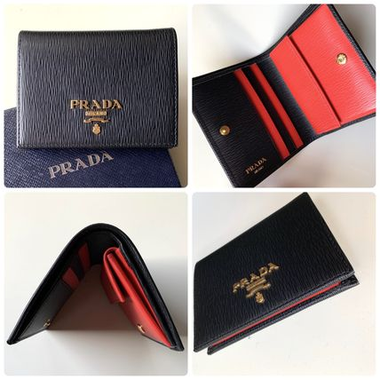 PRADA Folding Wallets Bi-color Leather Folding Wallets