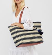 Accessorize Stripes Casual Style Blended Fabrics Tassel A4 Totes