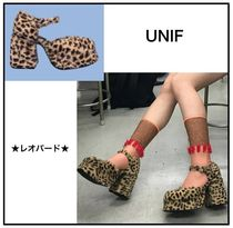 UNIF Clothing Leopard Patterns Platform Casual Style Street Style
