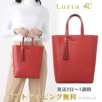 4℃ 2WAY Plain Leather With Jewels Office Style Elegant Style