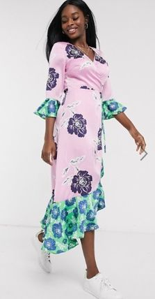Wrap Dresses Flower Patterns V-Neck Cropped Long