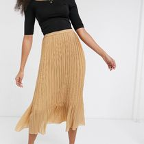 New Look Flared Skirts Casual Style Chiffon Pleated Skirts Plain