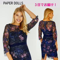 Paper Dolls Short Flower Patterns Tight Cropped Lace Bridal Dresses