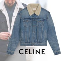 CELINE Short Street Style Plain Denim Jackets Shearling Jackets