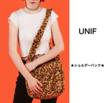 UNIF Clothing Leopard Patterns Casual Style Street Style Shoulder Bags