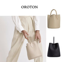 OROTON Casual Style Plain Leather Office Style Elegant Style Totes