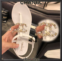 CHANEL ICON Flower Patterns Star Open Toe Casual Style Blended Fabrics