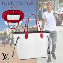 Louis Vuitton NEVERFULL Unisex A4 Bi-color Leather Totes