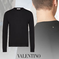 VALENTINO Crew Neck Pullovers Unisex Wool Studded Street Style
