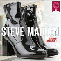 Steve Madden Round Toe Casual Style Enamel Plain Leather Block Heels