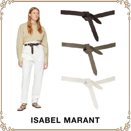 Plain Leather Elegant Style Khaki Belts