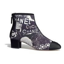 CHANEL Flower Patterns Round Toe Casual Style Leather Chunky Heels