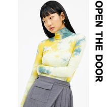 OPEN THE DOOR Unisex Street Style Tie-dye Bi-color Long Sleeves Cotton