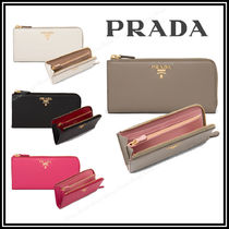 PRADA Saffiano Leather Long Wallets