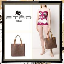 ETRO Paisley Casual Style A4 Leather Office Style Elegant Style