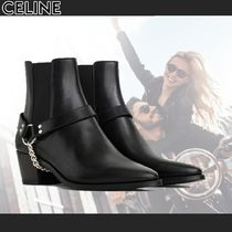 CELINE Plain Toe Chain Plain Leather Chelsea Boots Chelsea Boots