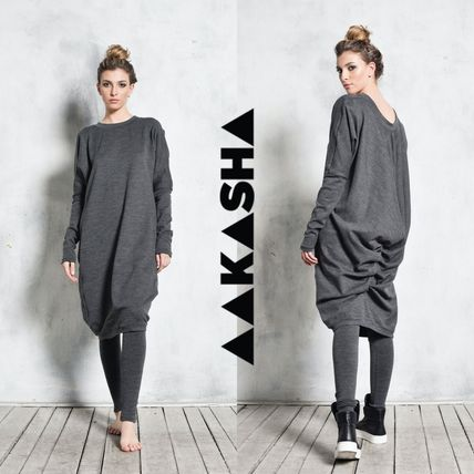 Wool Long Sleeves Plain Medium Handmade Asymmetry Tunics