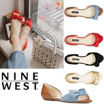 Nine West Open Toe Platform Casual Style Suede Blended Fabrics
