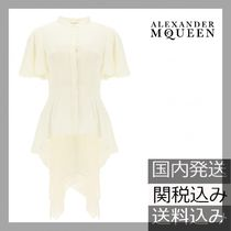 alexander mcqueen Silk Plain Short Sleeves Party Style Elegant Style