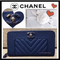 CHANEL MADEMOISELLE Unisex Lambskin Plain Long Wallets
