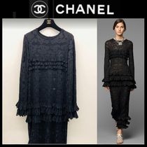 CHANEL ICON Crew Neck Long Sleeves Plain Medium Long Party Style