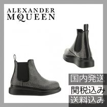 alexander mcqueen Round Toe Rubber Sole Casual Style Studded Leather