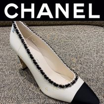 CHANEL ICON Plain Toe Casual Style Blended Fabrics Street Style Bi-color
