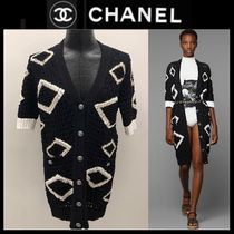 CHANEL ICON Casual Style Cropped Plain Cotton Long Party Style