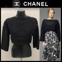 CHANEL ICON Short Casual Style Boat Neck Long Sleeves Plain Cotton